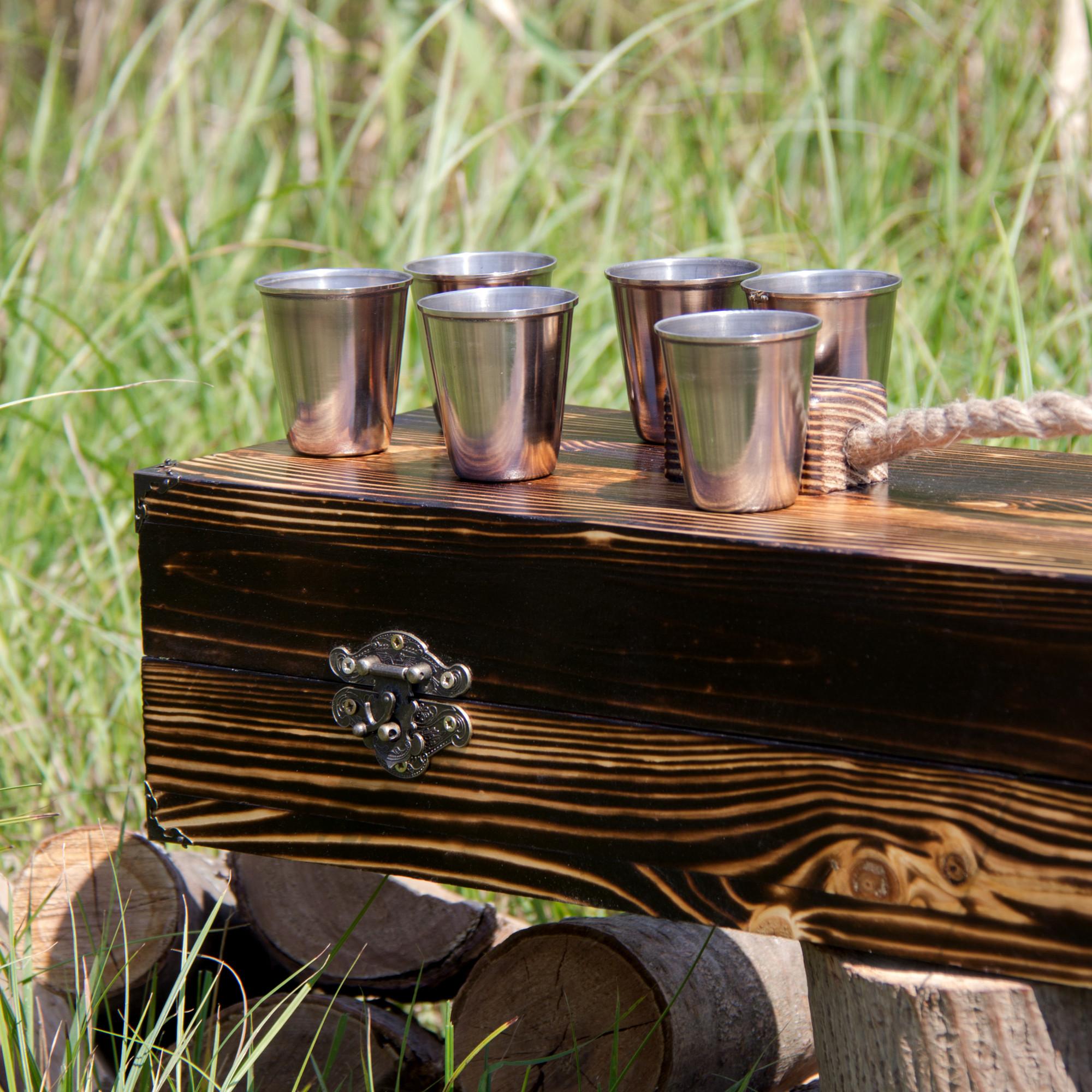 """Набор шампуров """"Охотник"""" в деревянном кейсе."""