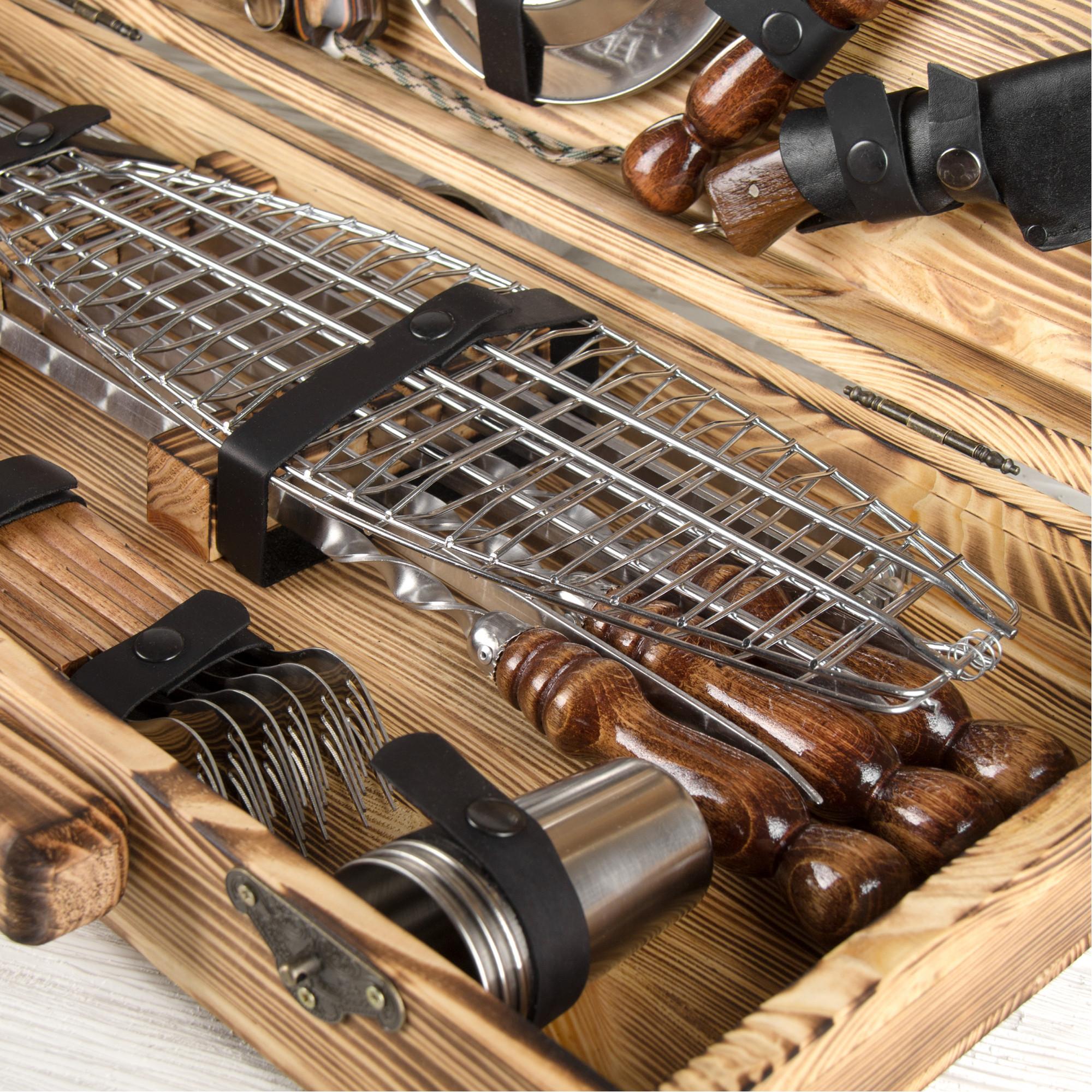 """Набор шампуров """"Привал"""" в деревянном кейсе."""